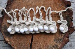 Girlanda - szydełkowe zajączki beżowe