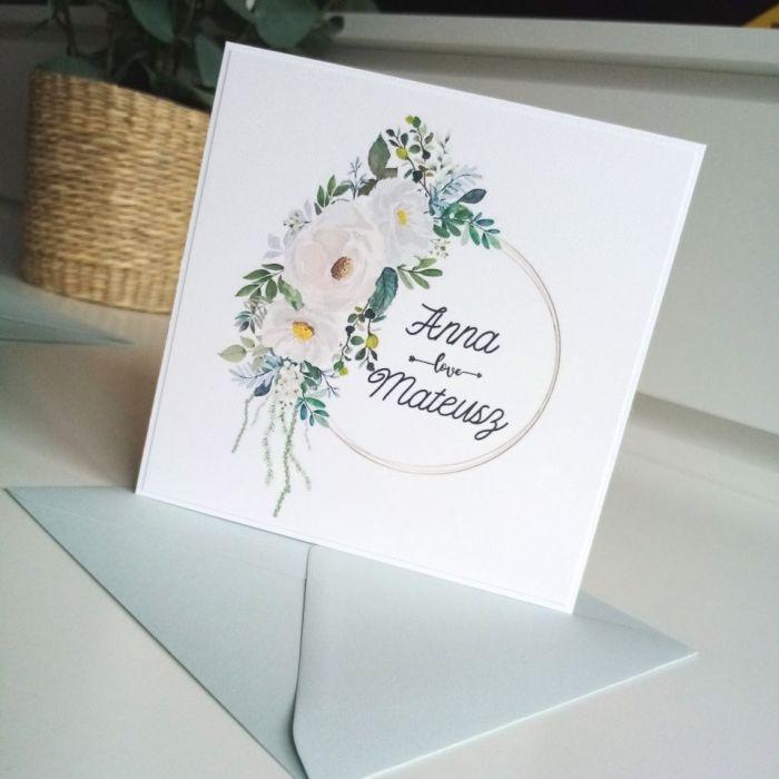 Zaproszenie ślubne z przepięknym wiankiem - róże03