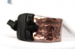 Miedziany pierścionek z rzemieniem unisex