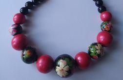 naszyjnik korale drewniane kwiaty z czerwienią