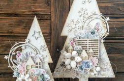 Drewniane choinki bożonarodzeniowe 2 szt