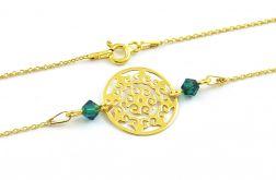 Pozłacana bransoletka AŻUR ROZETA Emerald
