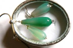 Chalcedon, zielone krople, srebro, zestaw