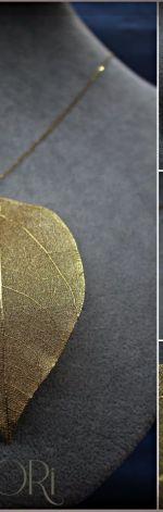 Naszyjnik ze srebra pozłacanego z liściem Magnolii