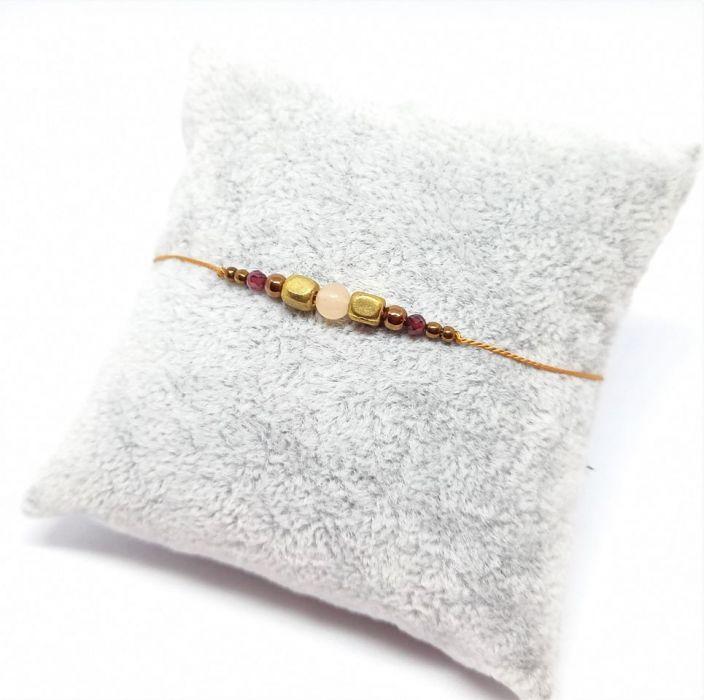 Bransoletka mocy Jesień na nitce jedwabnej - Bransoletka handmade rękodzieło na nitce jedwabnej