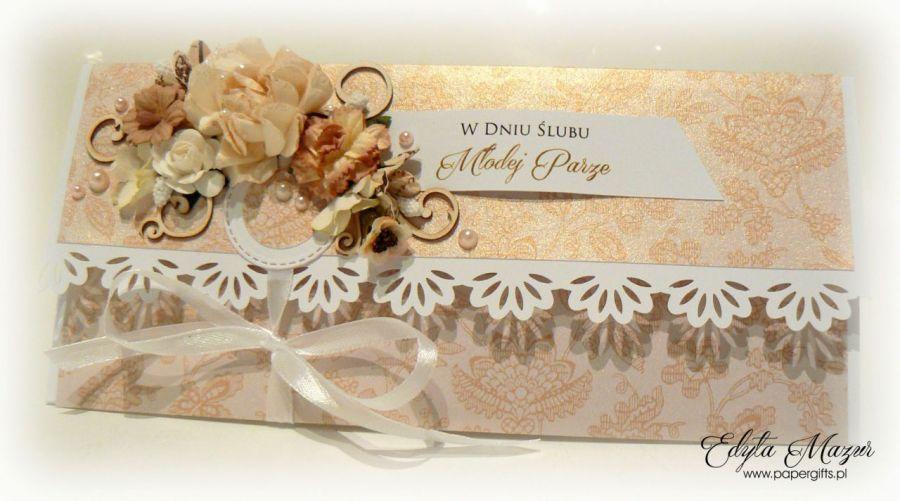 Kartka ślubna złota kopertówka na prezent - Złota kartka ślubna