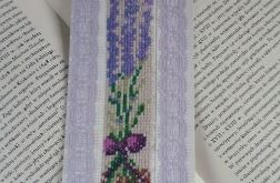 Zakładka haftowana-bookmark - bukiecik lawendy