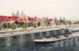Szczecin, barka na odrze
