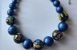 naszyjnik korale drewniane niebieski metalic
