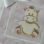 Kartka z okazji Narodzin Roczku Chrztu różowa hipopotam hipcio -