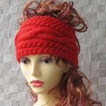 Czerwona opaska na głowę , miękka i wygodna. - zimowe akcesoria