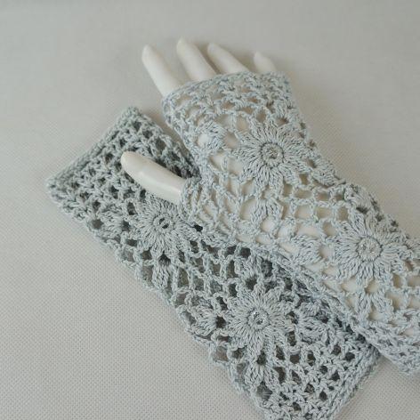 Rękawiczki, mitenki handmade popielate
