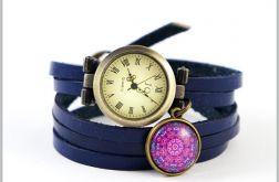 Bransoletka, zegarek - Fioletowa mandala - granatowy, skórzany, wąski pasek