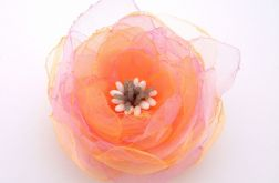 Broszka kwiat - łososiowa 7 cm