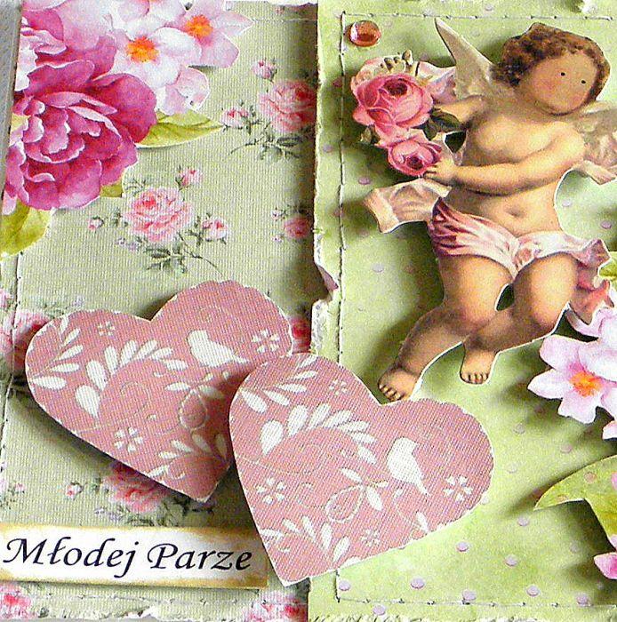 Kartka ślubna- różowe serca -