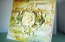 Kartka kwiatowa z ornamentem