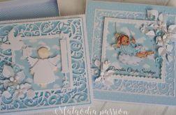 Komplecik na chrzest chłopca z aniołkami