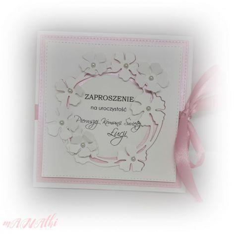 Zaproszenie Komunia, Chrzest...kwiaty