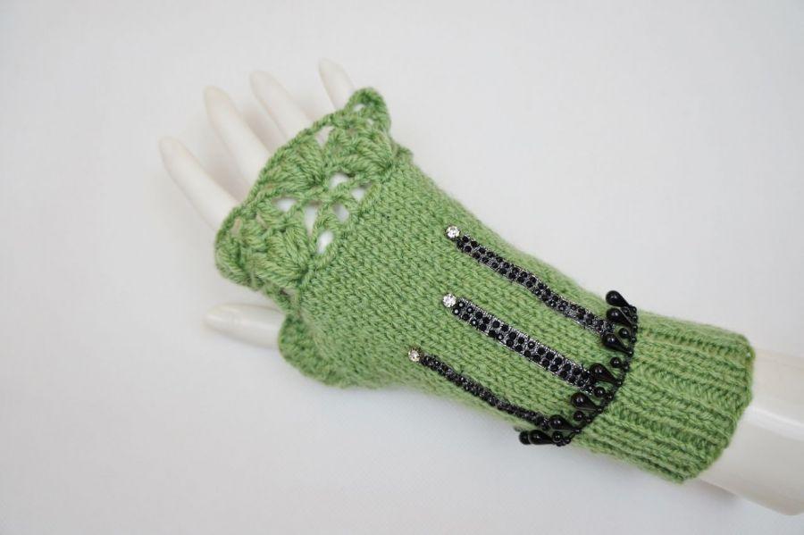 Mitenki ręcznie robione wełna zielone - mitenki wełna