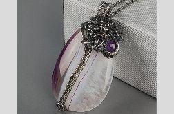 Duży srebrny wisiorek z agatem i kryształem