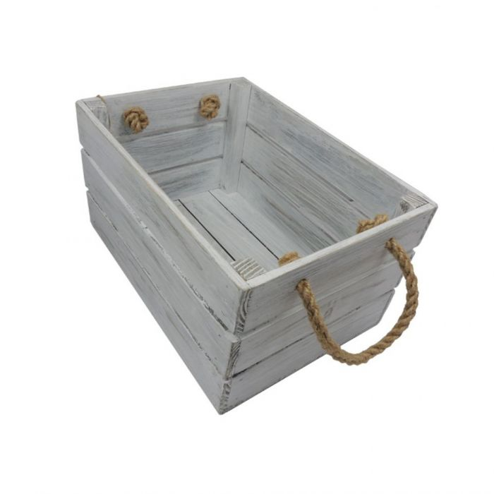 Skrzynka drewniana biało szara 20x31x16,5 - Skrzynka z uszami jutowymi