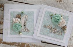 Kwiatowa kartka ślubna z pudełkiem A7