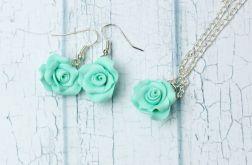 Miętowe róże komplet biżuterii