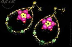 Kolczyki Zielone Krople z Kwiatkiem