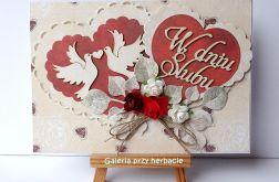 Kartka ślubna z serduszkami 36