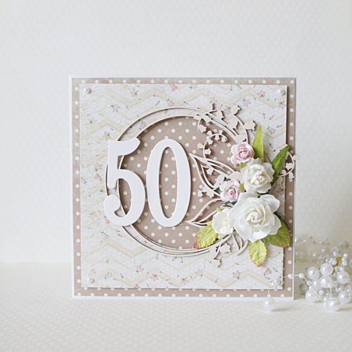 Kartka urodzinowa - okrągła '50' v.2