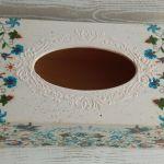 Pudełko na chusteczki z motywem kaszubskim - Ręcznie zdobiony, drewniany chustecznik