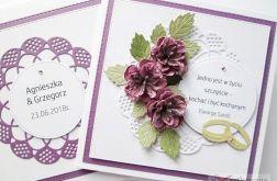 Kartka ŚLUBNA fioletowo-różowa