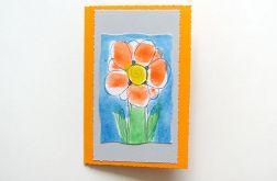 Kartka oranżowa  z kwiatkiem 12
