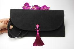 Torebka kopertówka wesele czarna fuksja róż