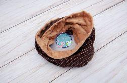 KOMIN szalik chusta - bawełna i Minky - czekolada białe kropeczki