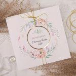 Zaproszenia na komunię, chrzest - kwiaty1 - zaproszenia kwiatowe, zaproszenia z wiankiem, eleganckie zaproszenia