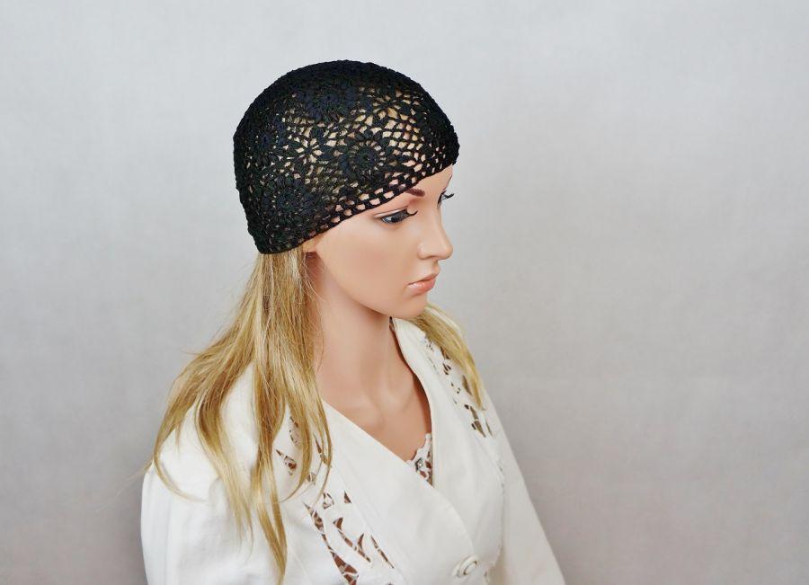 Czapka czarna handmade - czapka ażurowa