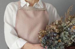 Fartuch lniany pudrowo-rózowy