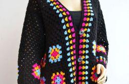 Szydełkowy sweter kardigan kwadraty babuni