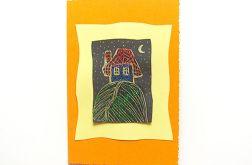 Kartka oranżowa z domkiem