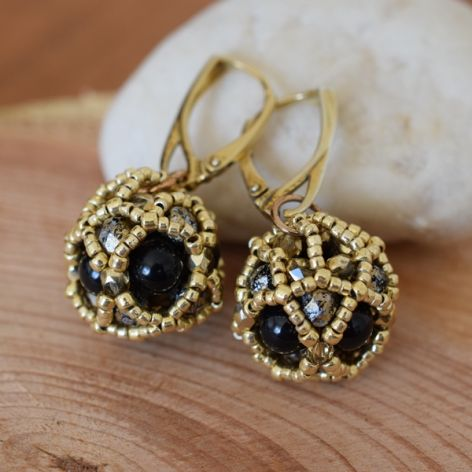 Kolczyki czarno-złote kule