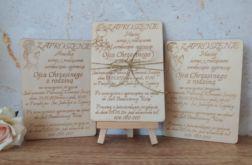 Drewniane zaproszenie na Pierwszą Komunię Świętą