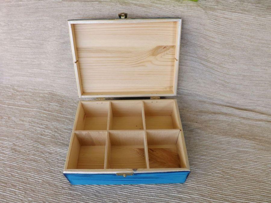 Herbaciarka malowana 6 przeg. - Margaretki - herbaciarka niebieska
