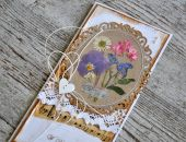 Kartka ślubna z suszonymi kwiatami 2