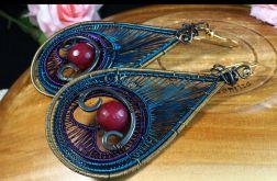 Emaliowane kolczyki z agatem pawie oczko