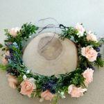 wianek  lawendowo-brzoskwiniowy - wianek z kwiatów