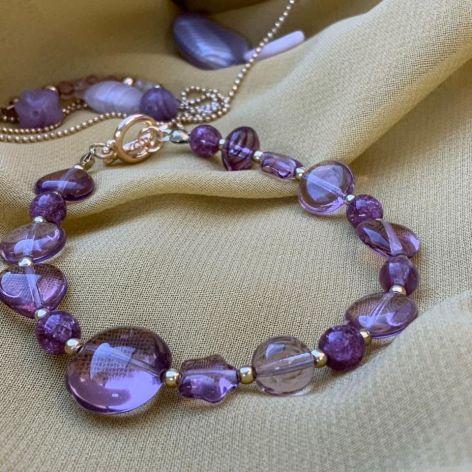 Bransoletka purple glass