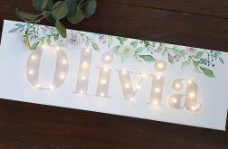 Obraz LED z imieniem, pastelowe róże
