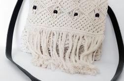 Makramowa naturalna koraliki frędzle skóra