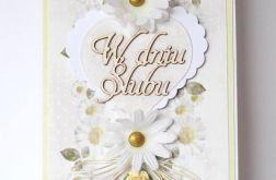 Kartka ślubna ze stokrotkami